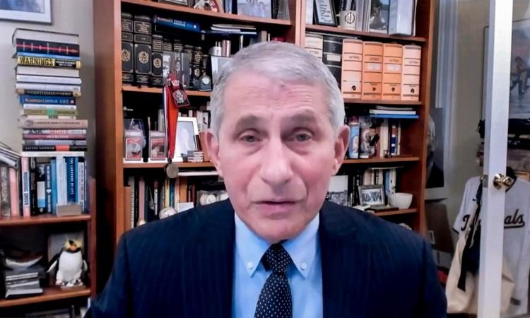 Tiến sĩ Anthony Fauci họp trực tuyến với ban điều hành WHO hôm nay. Ảnh: AFP.