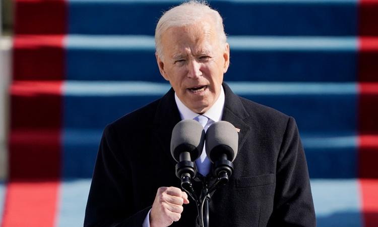 Tân Tổng thống Mỹ Joe Biden phát biểu trong lễ nhậm chức ngày 20/1. Ảnh: AP.