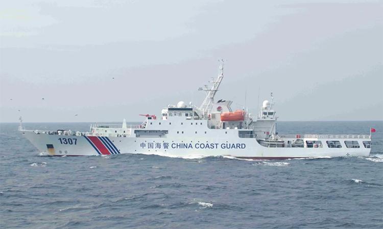 Một tàu hải cảnh Trung Quốc hoạt động gần nhóm đảo Sekaku/Điếu Ngư tranh chấp với Nhật Bản. Ảnh: JCG.