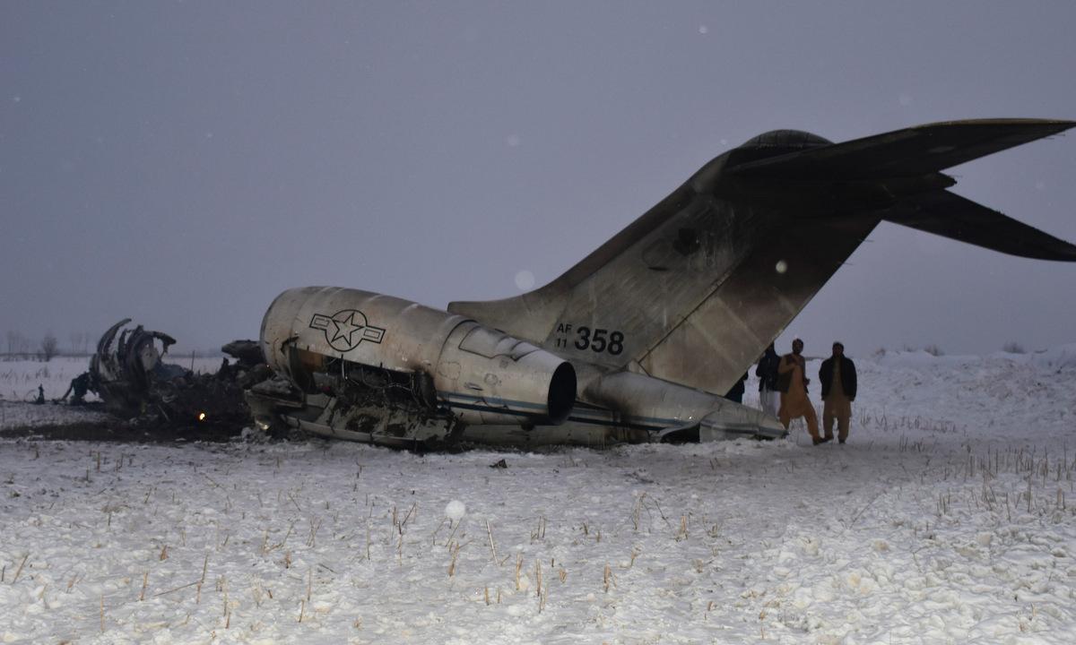 Xác chiếc E-11A rơi tại tỉnh Ghazni hôm 27/1/2020. Ảnh: AP.