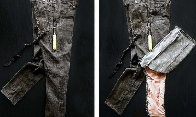 Túi khí giấu trong mẫu quần jean siêu bền. Ảnh: Moses Shahrivar.