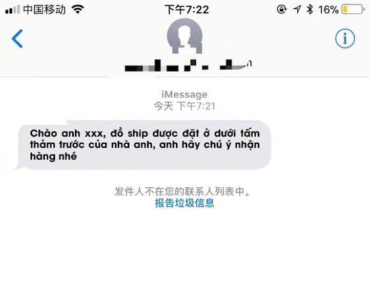 Lời nhắn của shipper đến khách hàng.