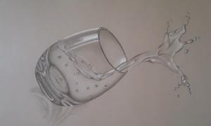 Vẽ cốc nước nghiêng như thật