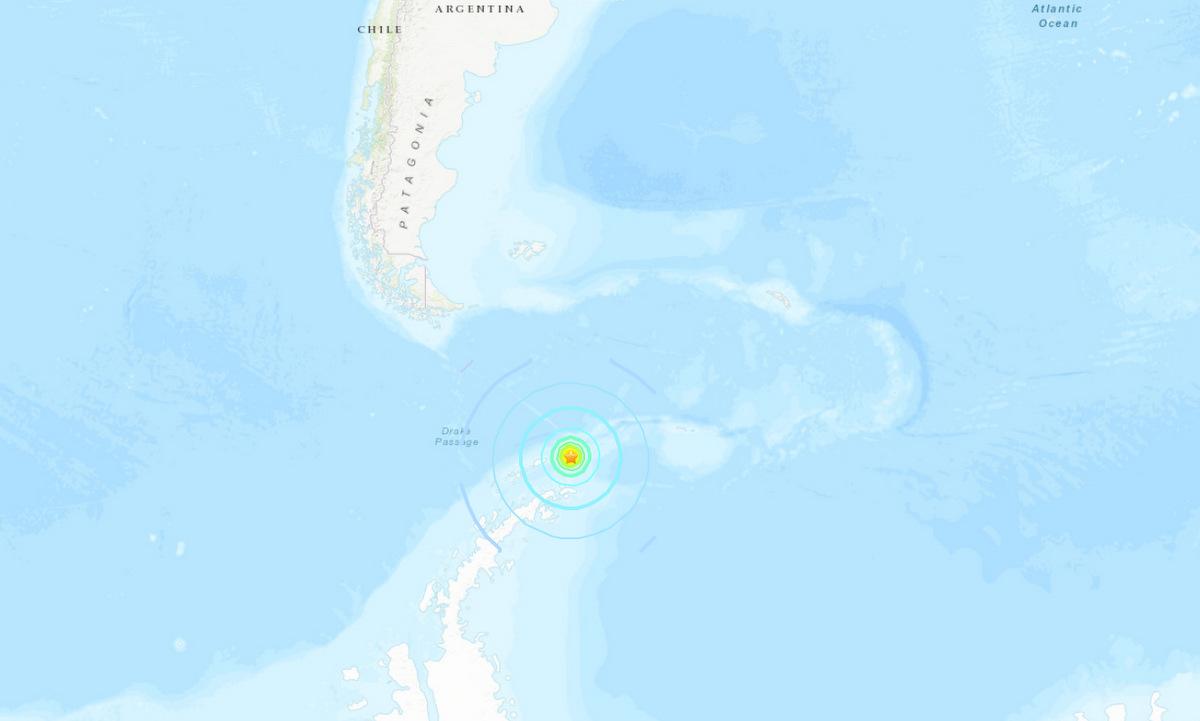 Vị trí tâm chấn động đất 7 độ tối 23/1. Ảnh: USGS.