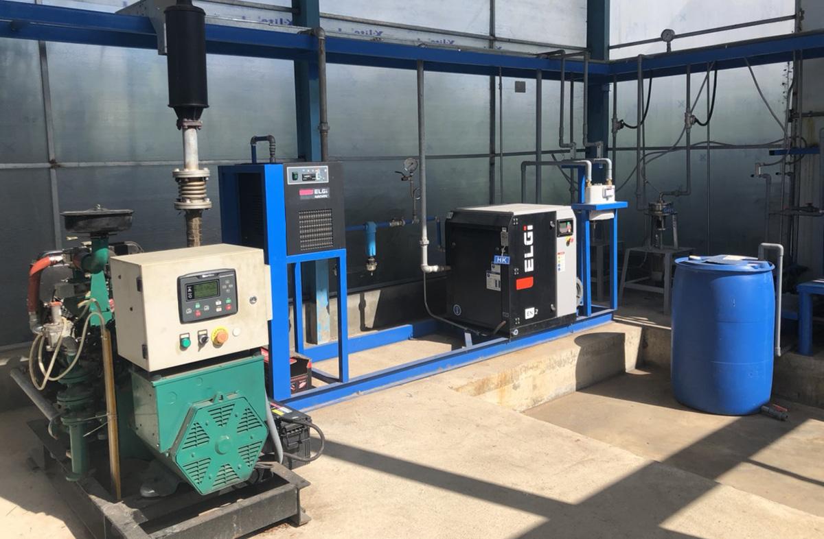 Hệ thống xử lý bùn thải tạo khí biogas có công suất phát điện 20kW tại Đắk Lắk. Ảnh: Nhóm nghiên cứu.