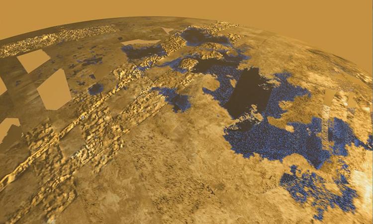 Hồ Kraken Mare trên mặt trăng Titan của sao Thổ. Ảnh: Planetary Mechanics.