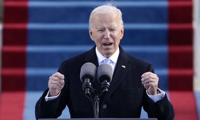 Joe Biden phát biểu tại lễ nhậm chức ở Đồi Capitol ngày 20/1. Ảnh: Reuters.