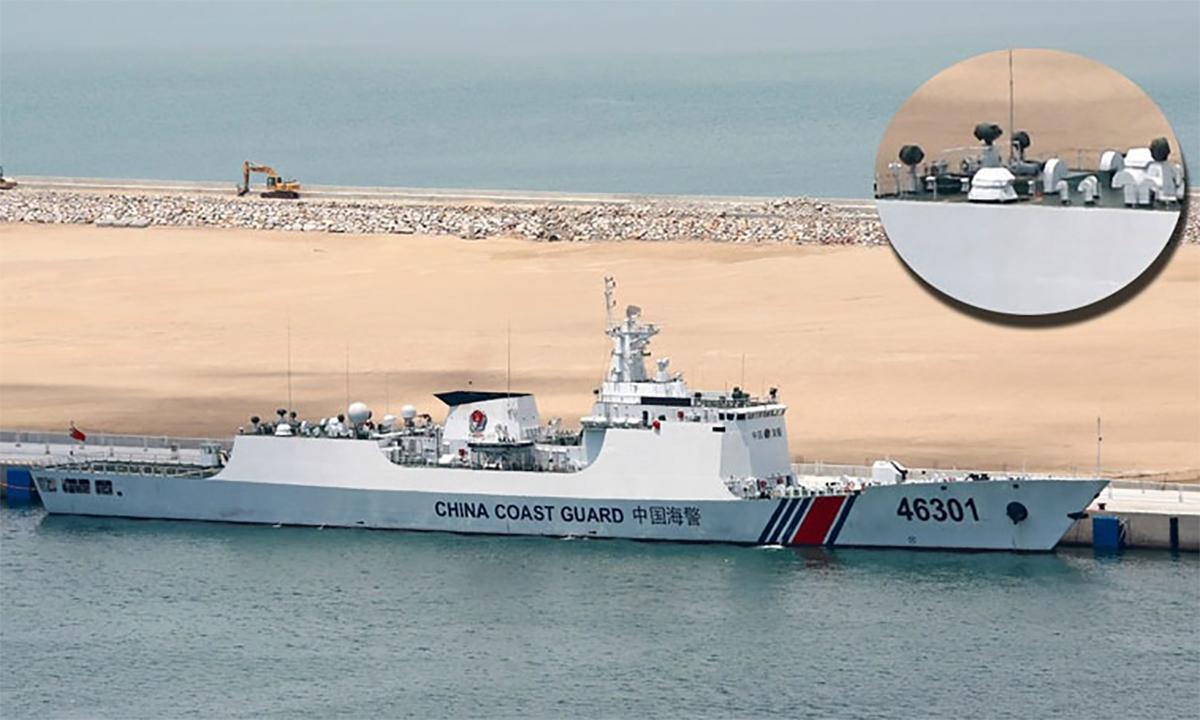 Tổ hợp phòng thủ tầm cực gần Type 630 trên tàu Hải cảnh 46301 đậu gần một thực thể thuộc quần đảo Trường Sa của Việt Nam. Ảnh: CGC, AMR.