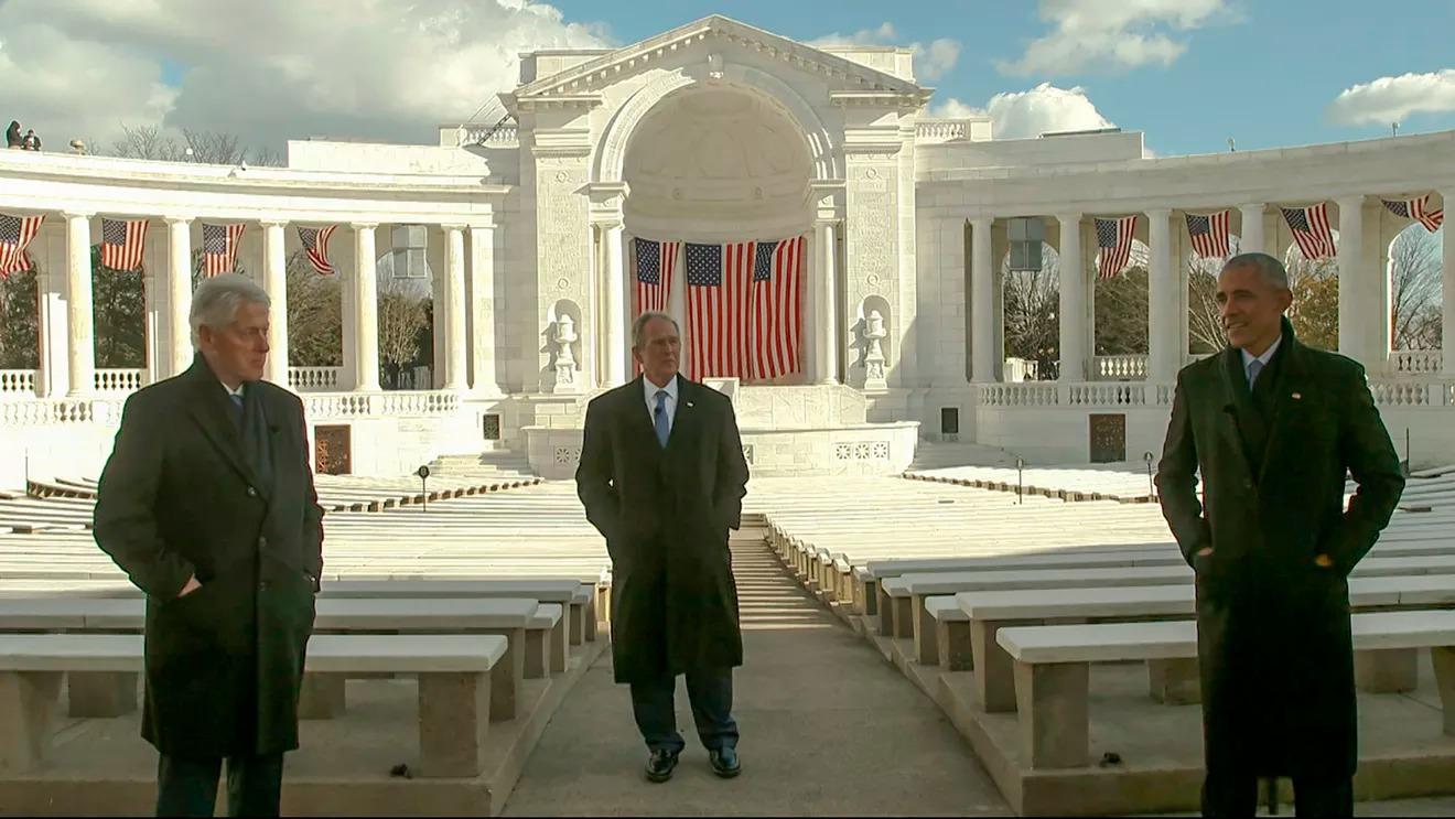 (Từ trái sang) Cựu tổng thống Bill Clinton, George W. Bush và Barack Obama ở thủ đô Washington ngày 20/1. Ảnh: Ủy ban Nhậm chức Biden.