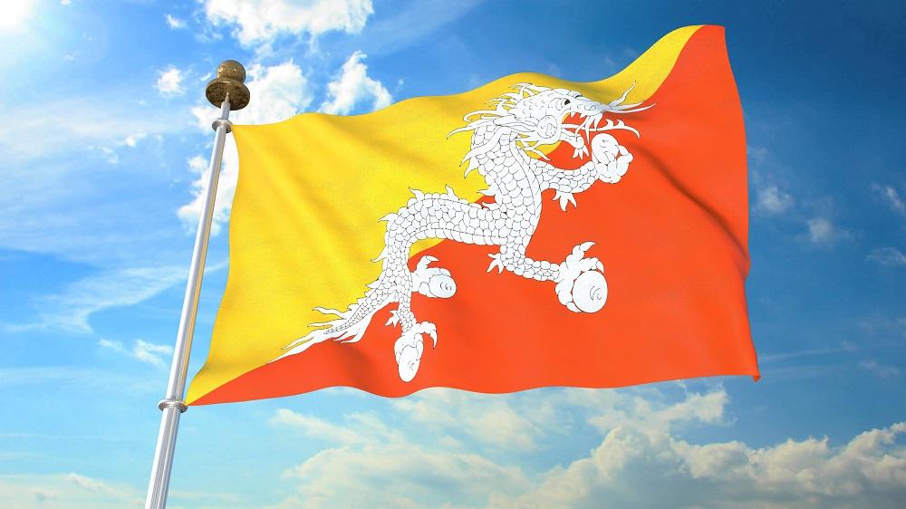 Quốc kỳ Bhutan. Ảnh: Shutterstock.