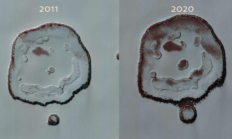 Hố trũng Mặt Cười trên sao Hỏa thay đổi qua gần 10 năm. Ảnh: NASA/JPL/UArizona.