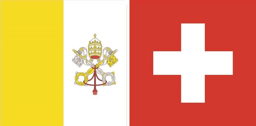 Quốc kỳ Thụy Sĩ (phải) và Vatican (trái). Ảnh: Shutterstock.