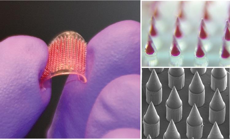 Các vi kim trong miếng dán có kích thước bằng chân tóc, chứa vaccine được truyền qua lớp biểu bì của da. Ảnh: NVCC.