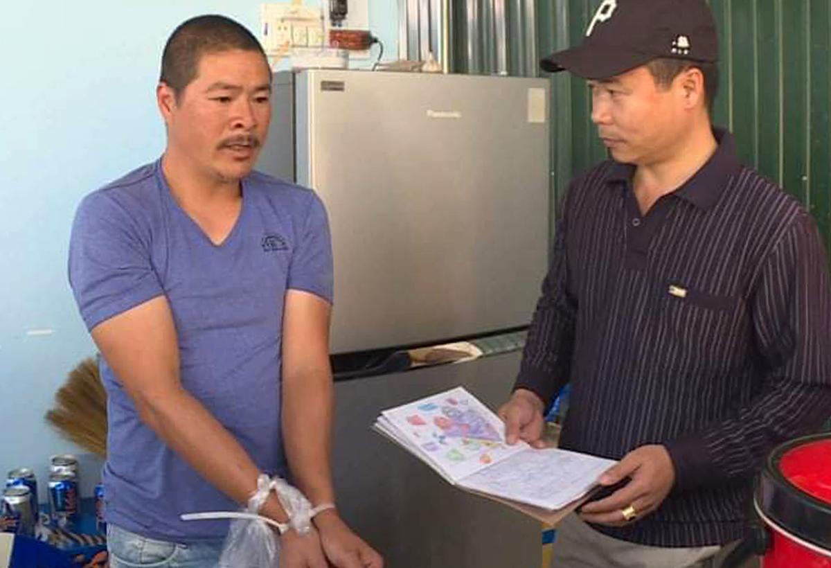 Trần Văn Cường lúc bị bắt. Ảnh: Thu Hà.