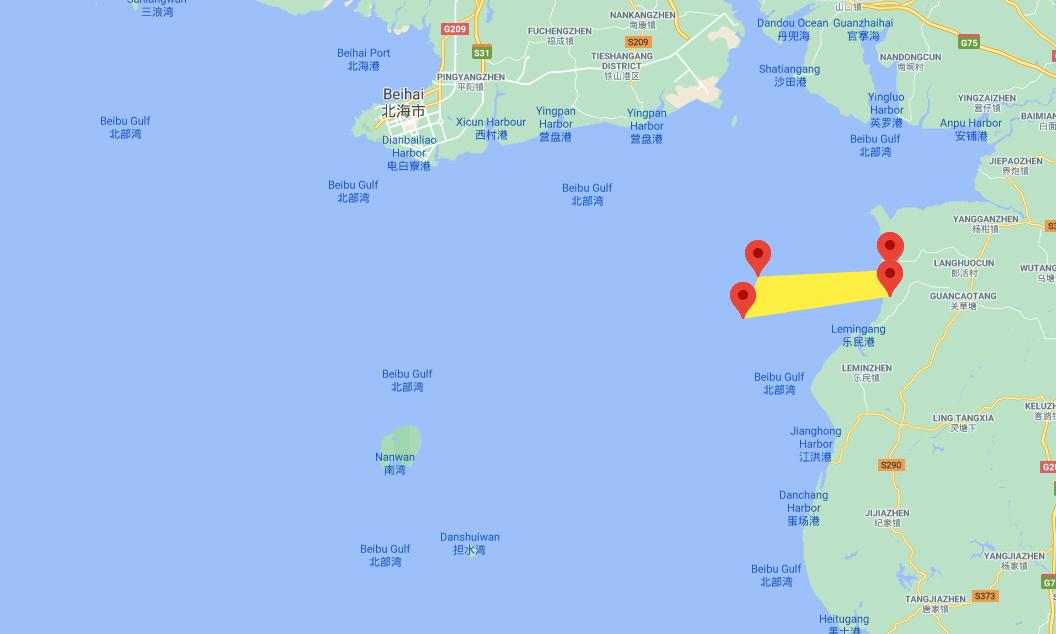 Vị trí Trung Quốc dự kiến tổ chức diễn tập sát bán đảo Lôi Châu (màu vàng). Đồ họa: Google.