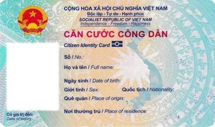 Mặt trước của thẻ căn cước công dân gắn chip. Ảnh: Bộ Công an