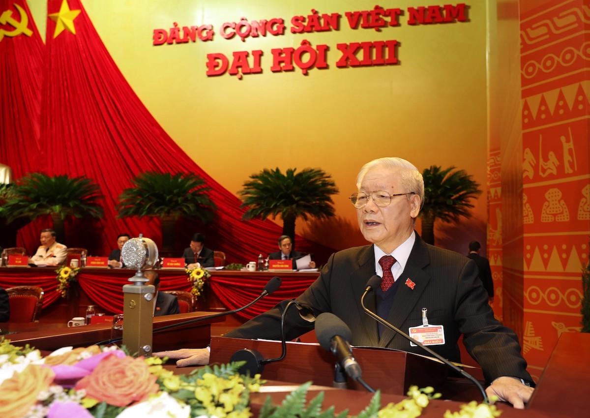 Tổng bí thư, Chủ tịch nước Nguyễn Phú Trọng phát biểu tại phiên khai mạc Đại hội XIII, sáng 26/1. Ảnh: TTXVN