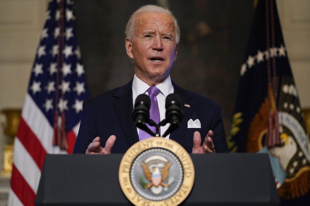 Tổng thống Joe Biden phát biểu về Covid-19 tại Nhà Trắng hôm 26/1. Ảnh: AP.