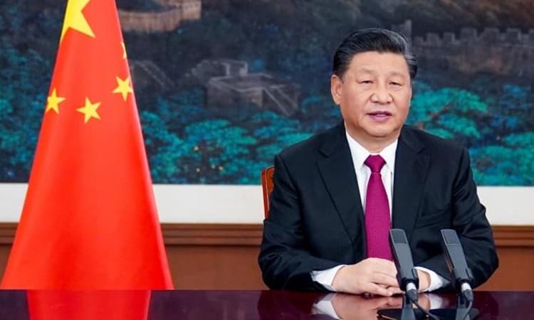 Chủ tịch Trung Quốc Tập Cận Bình phát biểu tại hội nghị trực tuyến của Diễn đàn Kinh tế Thế giới ngày 25/1. Ảnh: Xinhua.