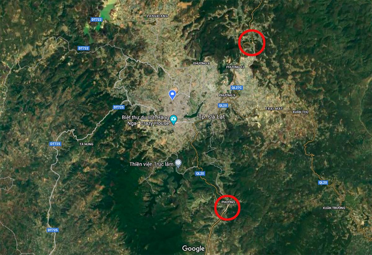 Vị trí hai khu bãi đậu xe dự kiến xây dựng ở Đà Lạt. Đồ hoạ: Googemap