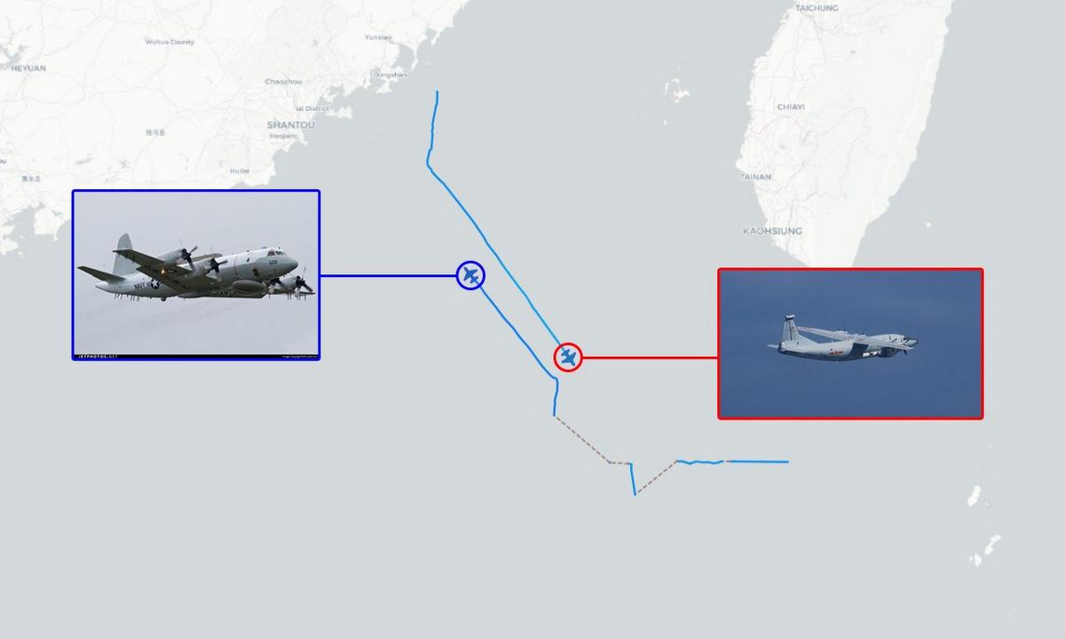 Đường bay của chiếc EP-3E (trái) và Y-8G hôm 26/1. Ảnh: Twitter/Aircraft Spots.