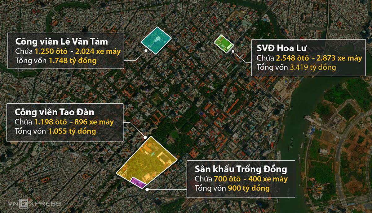 Cả 4 dự án bãi giữ xe ngầm bị chậm trễ đều nằm ở quận 1. Đồ họa: Khánh Hoàng.