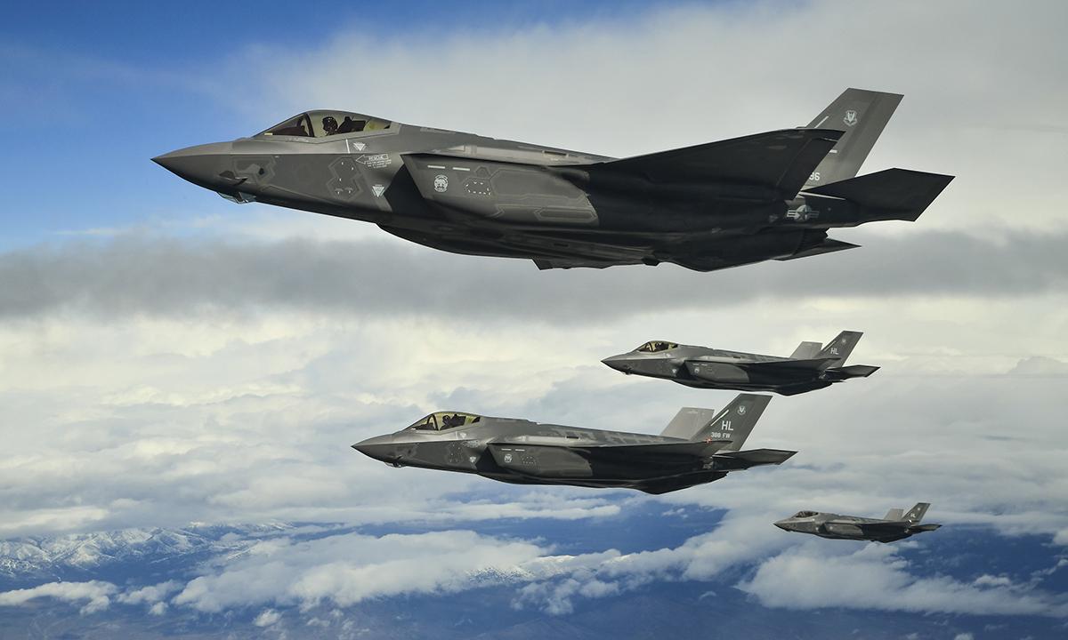 Biên đội F-35 đóng tại căn cứ Hill bay trên Thao trường Thử nghiệm và Huấn luyện Utah, tháng 3/2017. Ảnh: USAF.