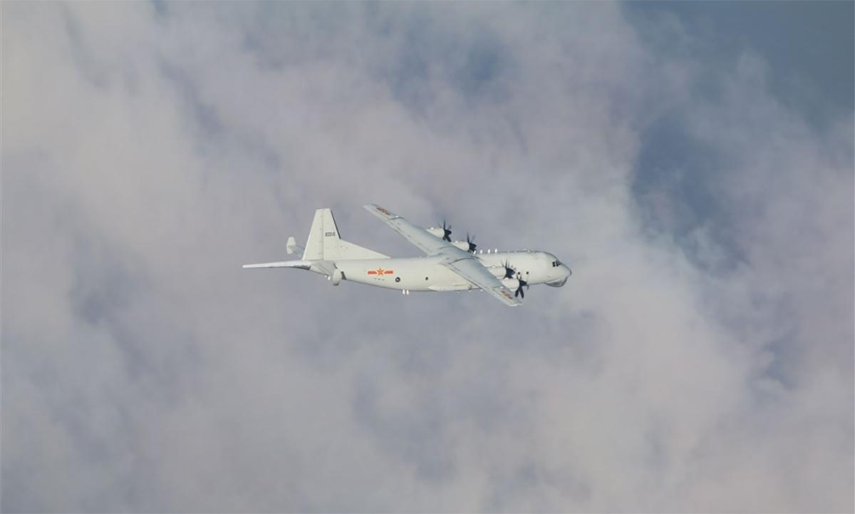 Máy bay săn ngầm Y-8 của Trung Quốc áp sát đảo Đài Loan. Ảnh: Cơ quan phòng vệ Đài Loan.