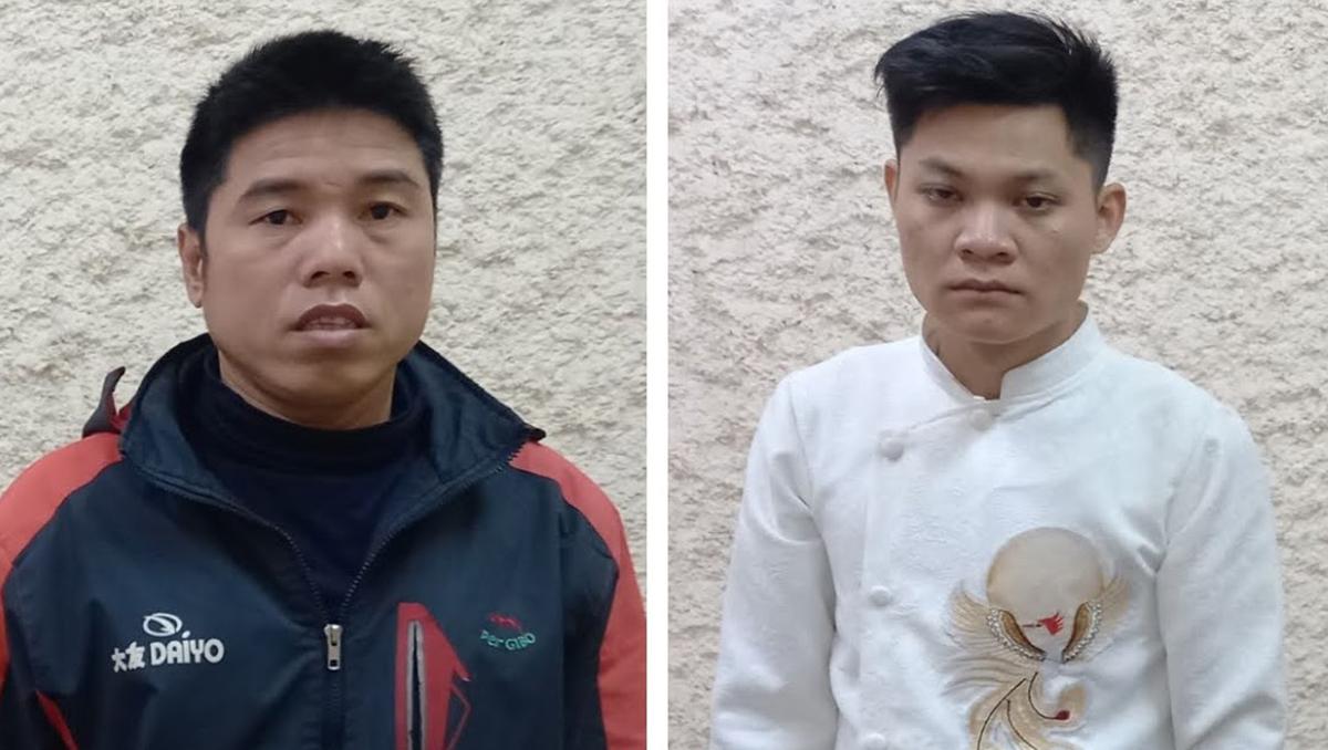 Hà và Sang (áo trắng) tại cơ quan điều tra. Ảnh: CA