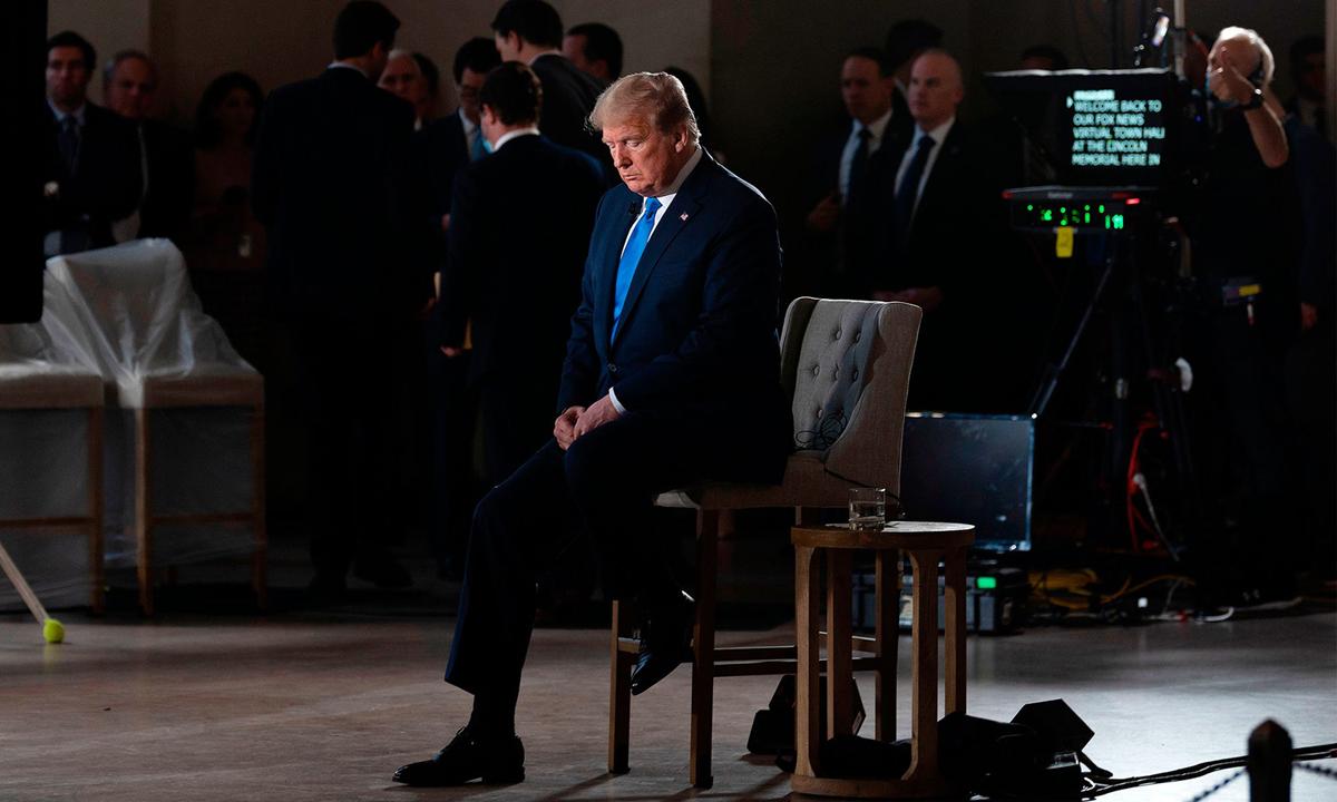 Donald Trump trong cuộc phỏng vấn với Fox News tại thủ đô Washington tháng 5/2020. Ảnh: AFP.