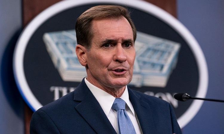 Phát ngôn viên Lầu Năm Góc John Kirby tại cuộc họp báo ở Washington hôm 28/1. Ảnh: AP.