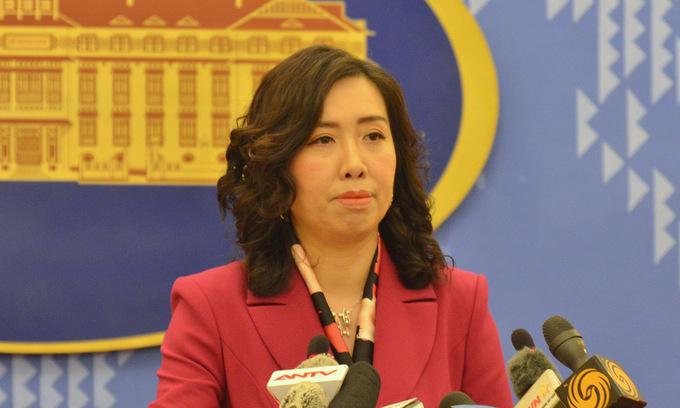 Người phát ngôn Lê Thị Thu Hằng trong cuộc họp báo ngày 14/1. Ảnh: Vũ Anh.