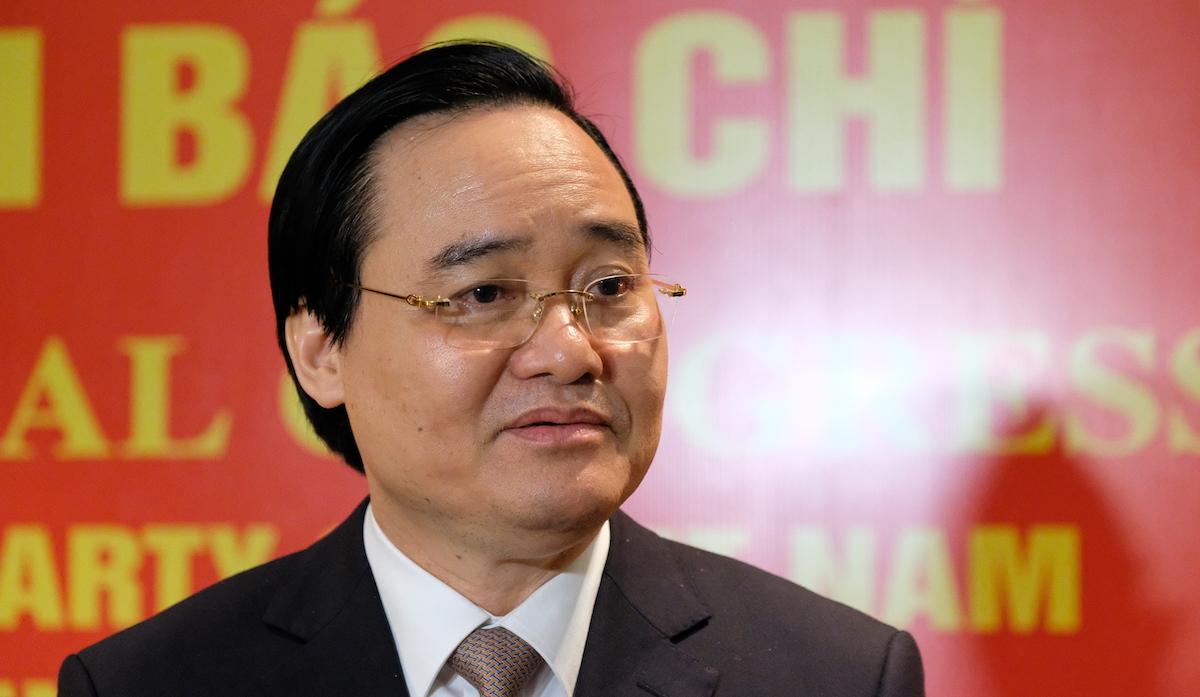 Bộ trưởng Giáo dục và Đào tạo Phùng Xuân Nhạ tại Đại hội Đảng XIII. Ảnh: Hoàng Thùy