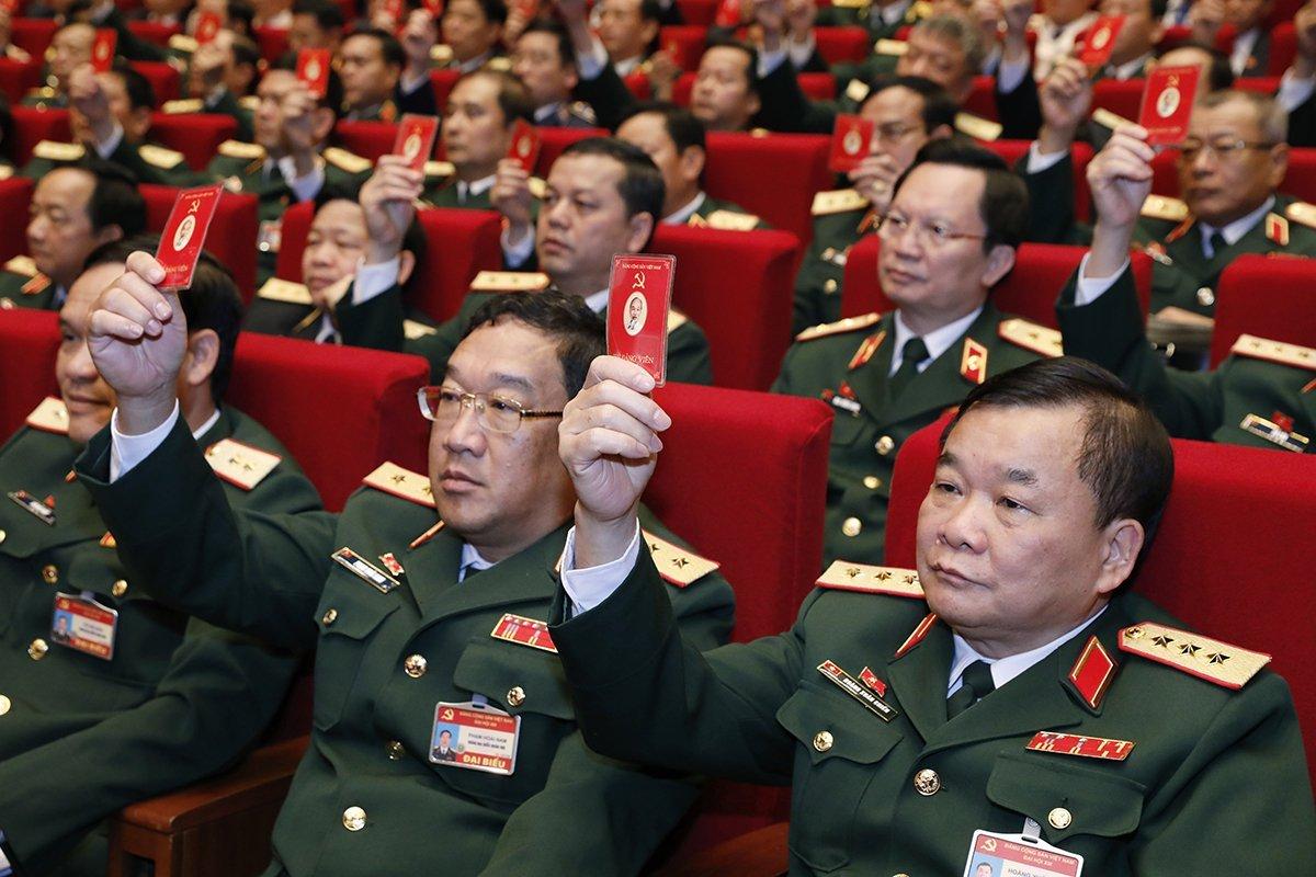Đoàn đại biểu Đảng bộ Quân đội tại Đại hội XIII. Ảnh: Giang Huy