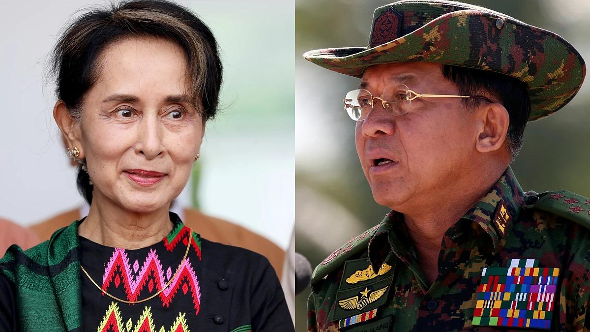 Lãnh đạo Myanmar Aung San Suu Kyi (trái) và Tổng tư lệnh Min Aung Hlaing. Ảnh: Reuters.