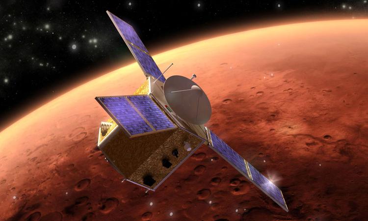 Hope là tàu đầu tiên tiến vào quỹ đạo sao Hỏa trong tháng 2. Ảnh: Mohammed bin Rashid Space Center.