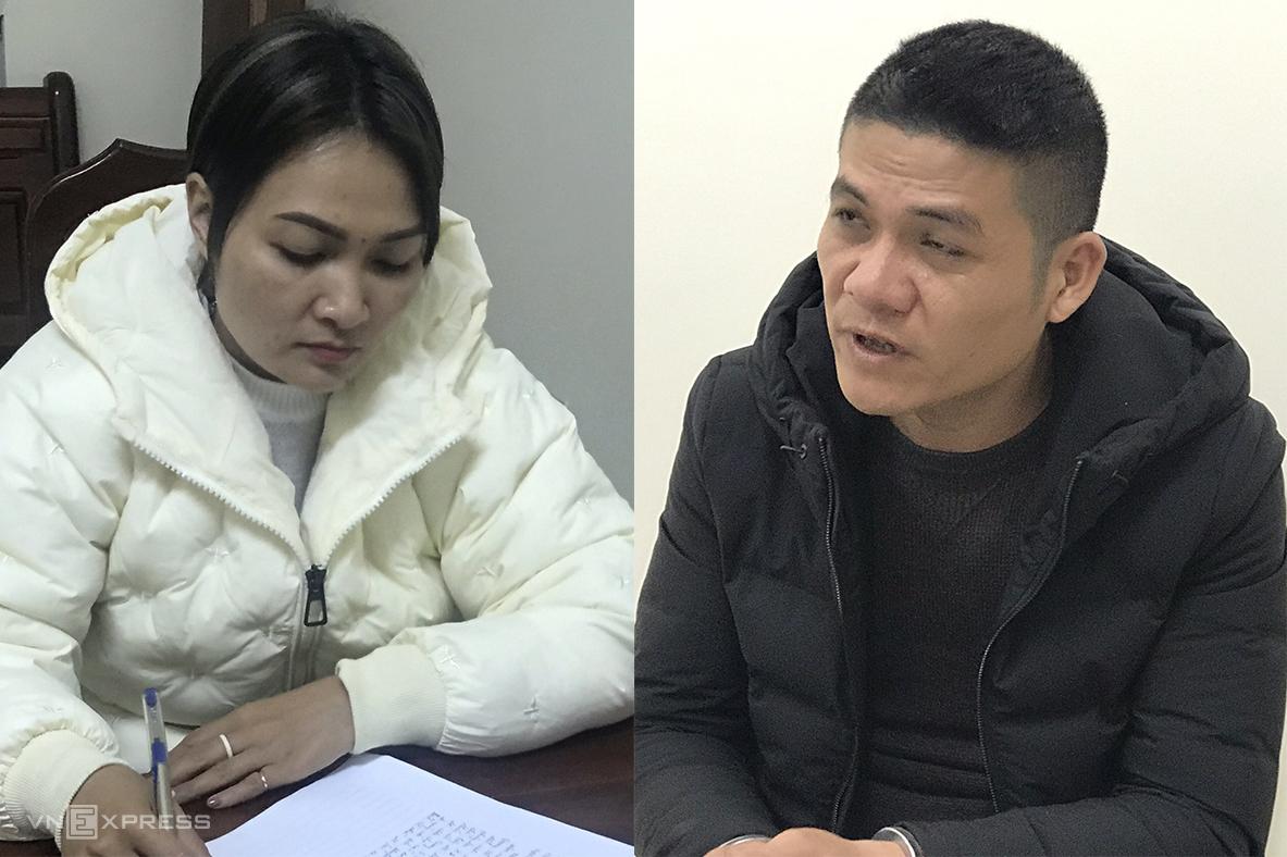 Trang và Diễm tại cơ quan điều tra. Ảnh: Quang Hà