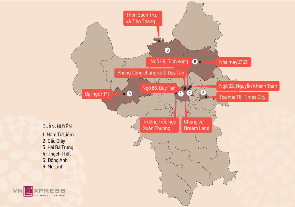 10 khu vực bị phong tỏa ở Hà Nội do có bệnh nhân Covid-19. Đồ họa: Tiến Thành.