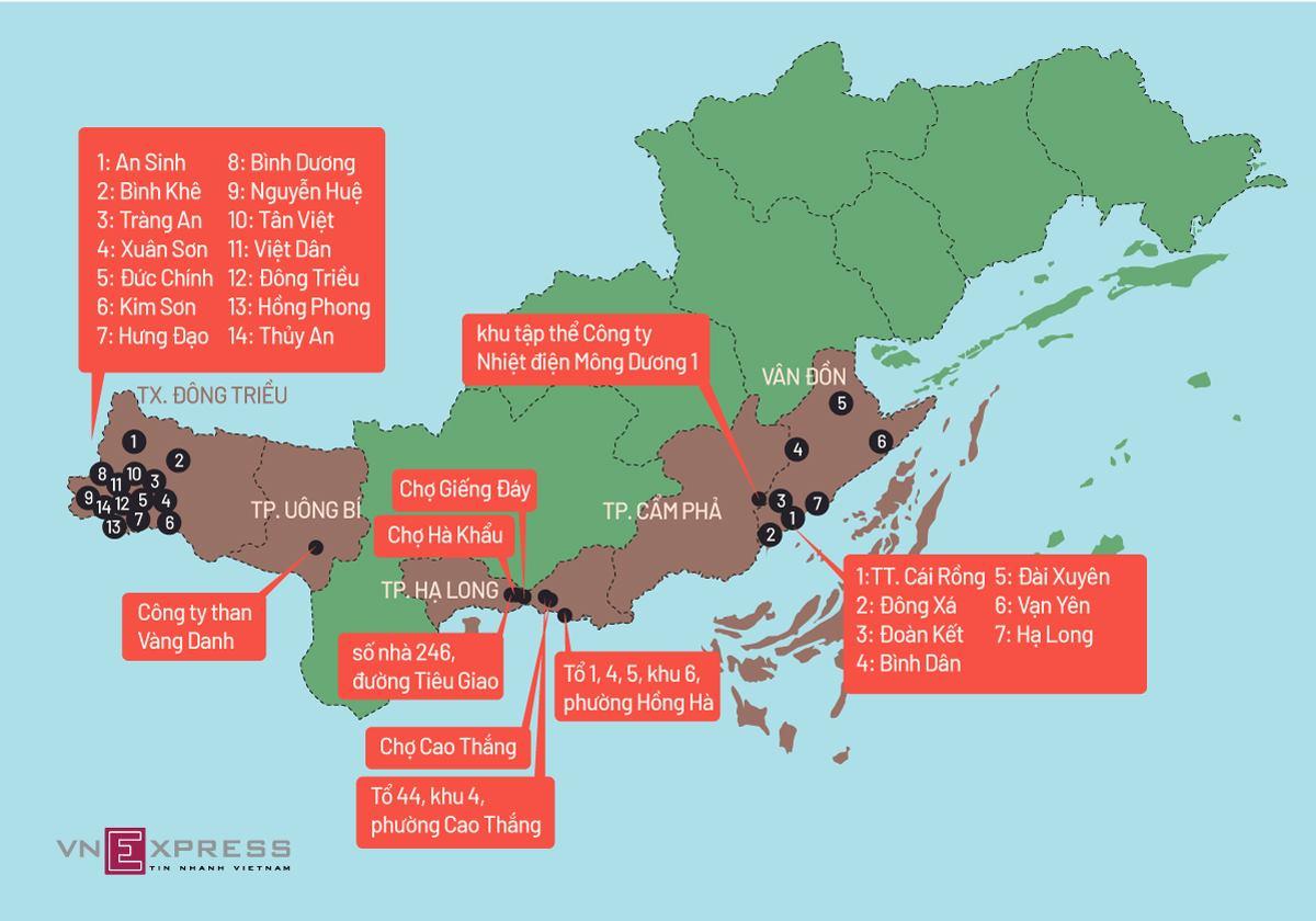Những điểm nóng Covid-19 ở Quảng Ninh. Đồ họa: Tiến Thành.