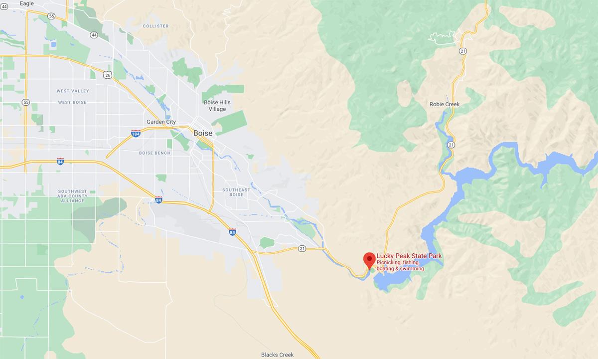 Vị trí công viên quốc gia  Lucky Peak (đánh dấu đỏ), nơi một trực thăng UH-60 rơi hôm 2/2. Đồ họa: Google.