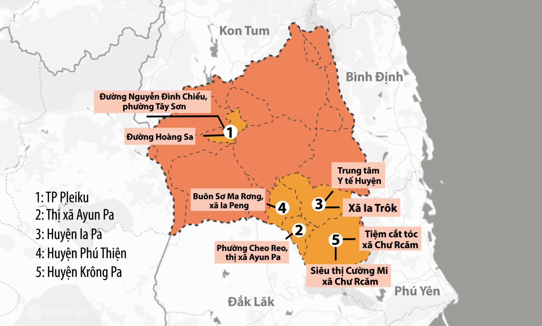 8 khu vực bị phong tỏa ở Gia Lai do có bệnh nhân Covid-19. Đồ họa: Thanh Nhàn