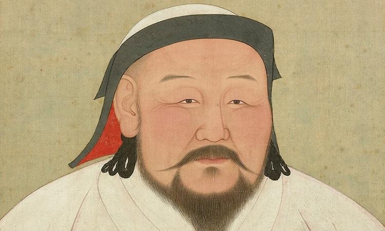 Chân dung Thành Cát Tư Hãn trong tranh vẽ trên lụa lưu trữ tại Bảo tàng Cố cung Quốc lập ở Đài Loan. Ảnh: WIkipedia.