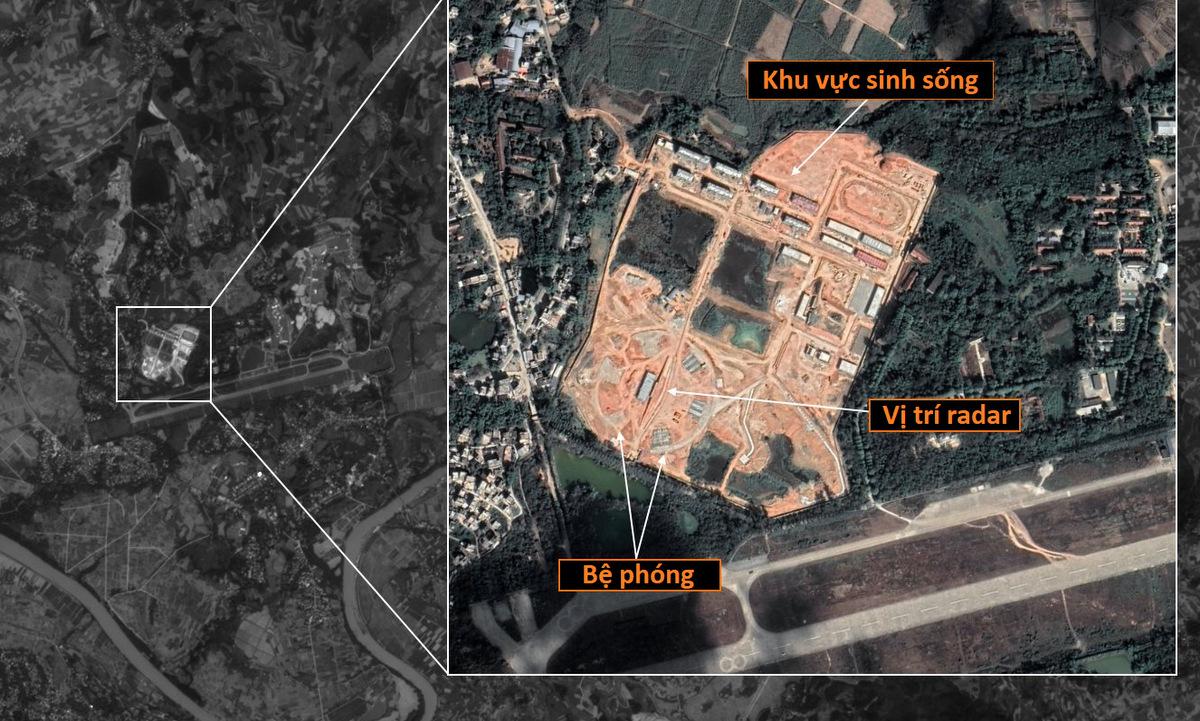 Trận địa tên lửa trên ảnh vệ tinh chụp huyện Ninh Minh đầu năm 2021. Ảnh: Twitter/ SCS_News.