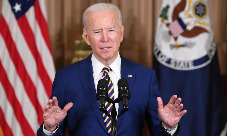 Tổng thống Joe Biden phát biểu về chính sách đối ngoại hôm 4/2 tại Bộ Ngoại giao Mỹ. Ảnh: AFP.