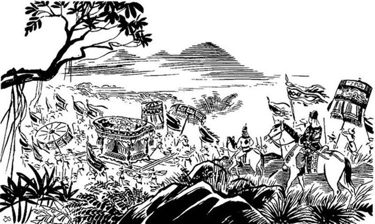 Tranh minh hoạ sử dụng trong bài phân tích tác phẩm Tụng giá hoàn kinh sư của Trần Quang Khải. Nguồn: Bài kiểm tra.