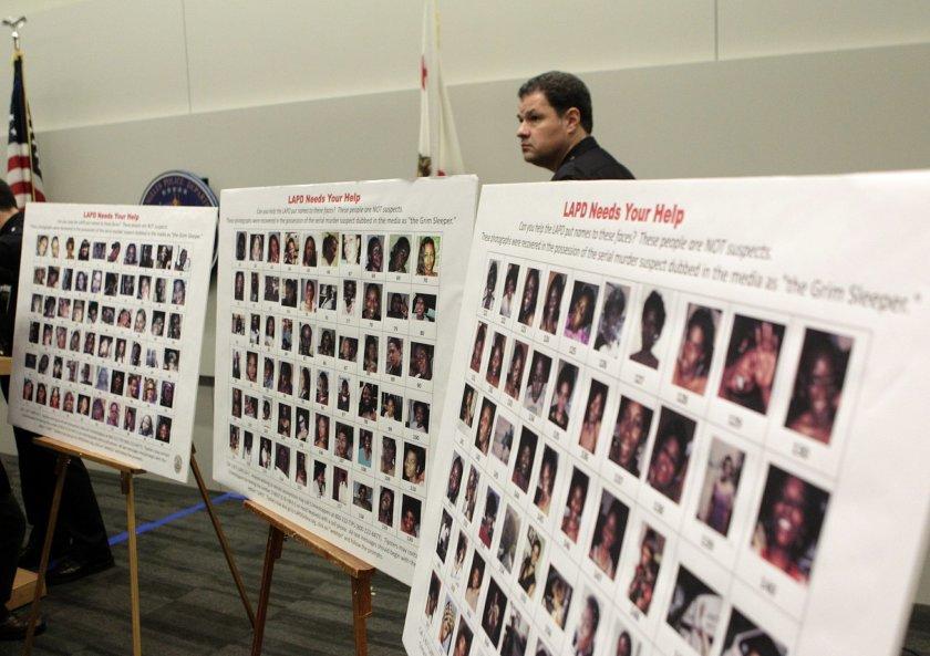Hình ảnh các nạn nhân tại họp báo của LAPD tháng 5-2016. Ảnh: AP