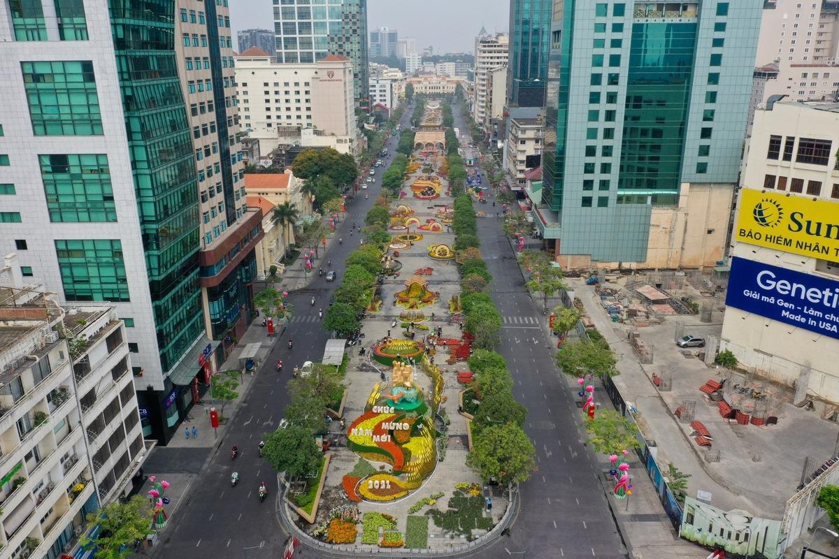 Đường hoa Nguyễn Huệ không tổ chức lễ khai mạc, chỉ mở cửa ban ngày. Ảnh: Quỳnh Trần.