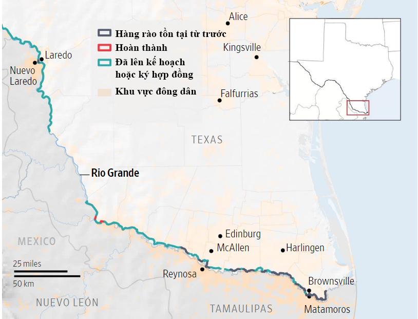 Tường biên giới ở Nam Texas. Đồ họa: WSJ.