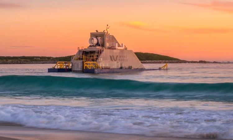 Thiết bị tạo ra điện từ sóng lắp đặt ở ngoài khơi đảo King. Ảnh: Wave Swell Energy.