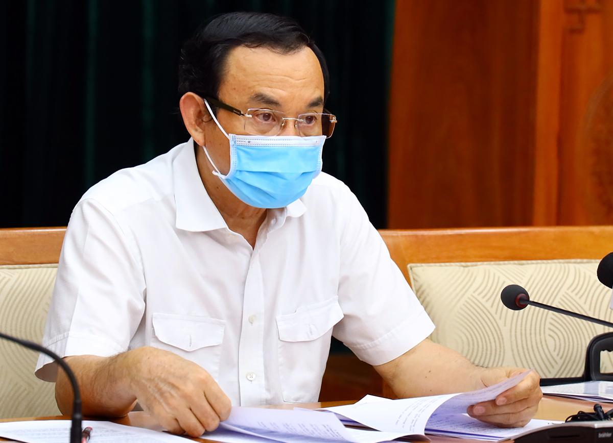 Bí thư Thành uỷ TP HCM Nguyễn Văn Nên phát biểu tại cuộc họp chiều nay. Ảnh: Trung tâm báo chí TP HCM.
